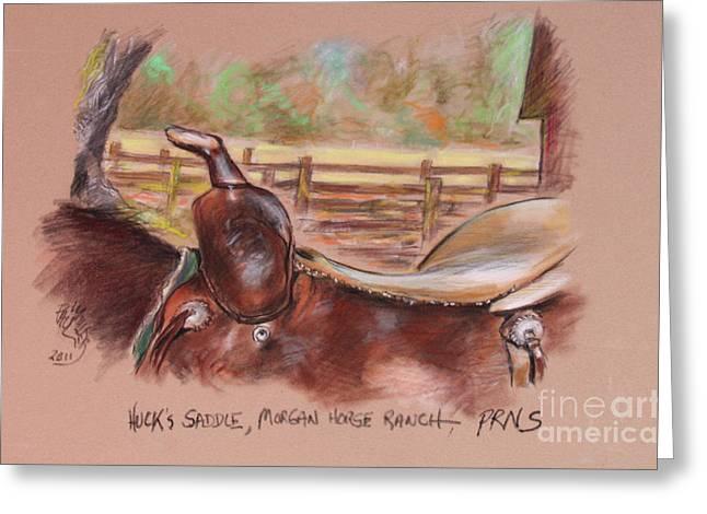 Saddle For Huck At Morgan Horse Ranch  Point Reyes National Seashore Greeting Card by Paul Miller