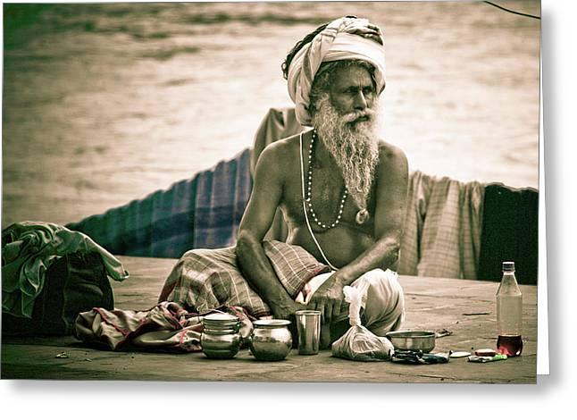 Sadhu At Ganges Greeting Card by John Battaglino