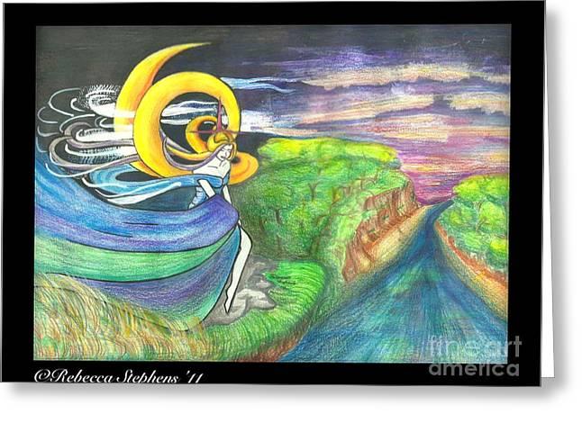 Sage Moon Greeting Card by Rebecca Stephens