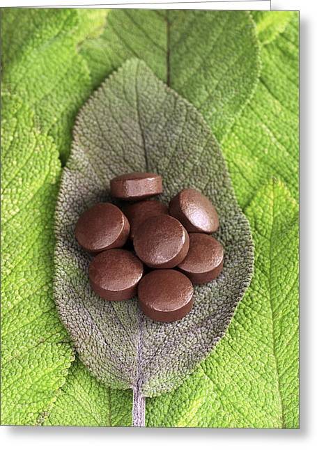 Sage Oil Pills On Sage Leaves Greeting Card by Dilston Physic Gardencolin Cuthbert
