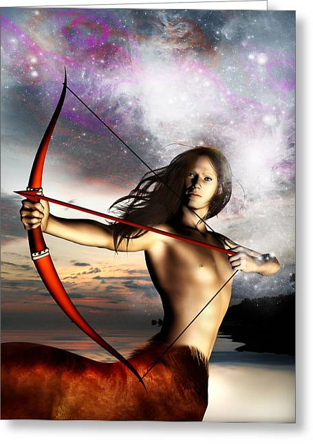 Sagittarius Greeting Card by Julie L Hoddinott
