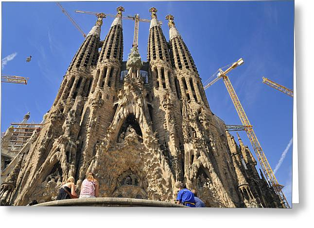 Sagrada Familia - Impressive Church From Gaudi In Barcelona Greeting Card by Matthias Hauser