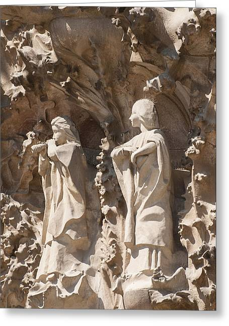 Sagrada Familia Nativity Facade Detail Greeting Card by Matthias Hauser