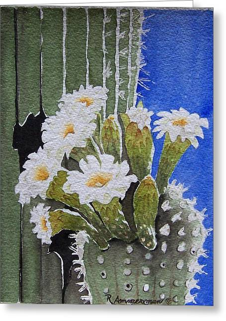 Saguaro Bloom Greeting Card by Regina Ammerman