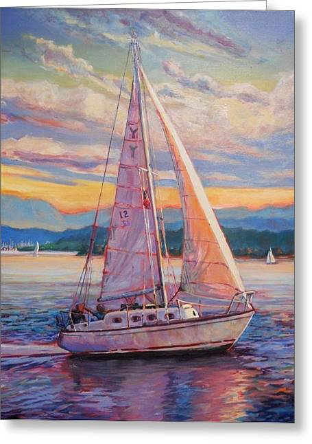 Sail Away Greeting Card by Margaret  Plumb