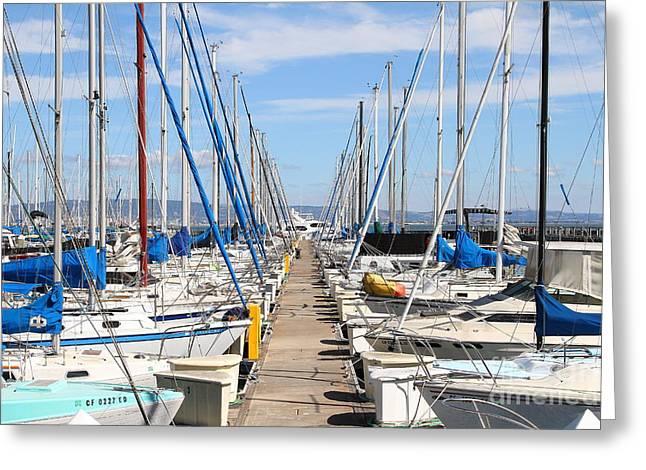 Sail Boats At San Francisco China Basin Pier 42 . 7d7692 Greeting Card by Wingsdomain Art and Photography