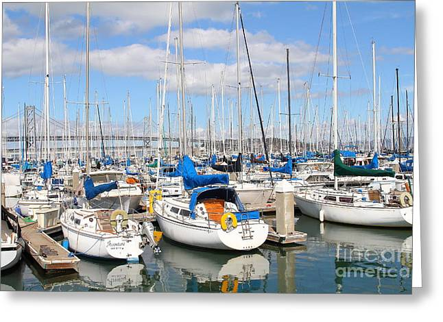 Sail Boats At San Francisco China Basin Pier 42 With The Bay Bridge In The Background . 7d7666 Greeting Card by Wingsdomain Art and Photography