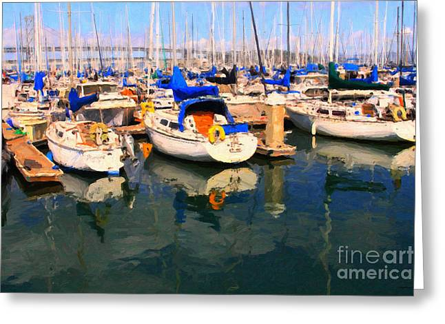 Sail Boats At San Francisco's Pier 42 . Dark Version Greeting Card by Wingsdomain Art and Photography