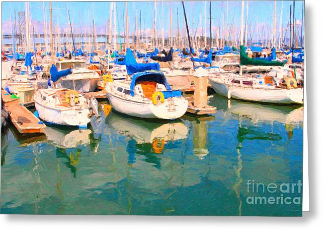Sail Boats At San Francisco's Pier 42 Greeting Card by Wingsdomain Art and Photography