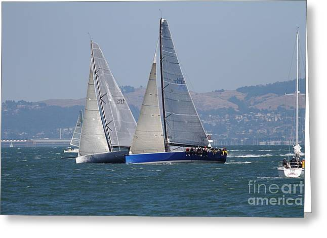 Sail Boats On The San Francisco Bay - 7d18323 Greeting Card by Wingsdomain Art and Photography