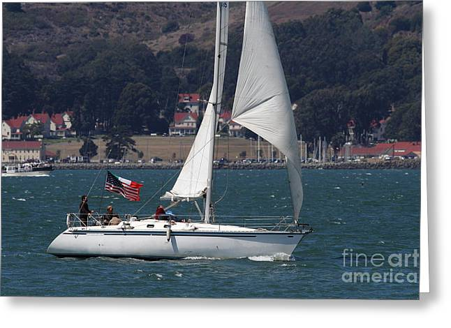 Sail Boats On The San Francisco Bay - 7d18326 Greeting Card by Wingsdomain Art and Photography
