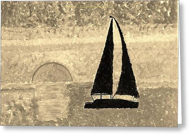 Sail In Sepia Sea Greeting Card by Sonali Gangane