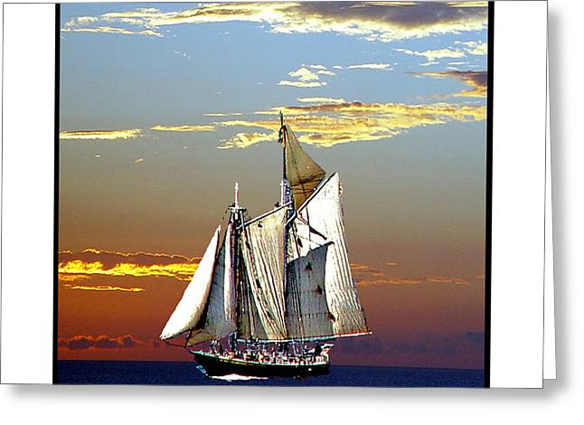 Sailbat At Dusk Greeting Card