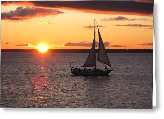 Greeting Card featuring the photograph Sailboat At Sunset by Karen Molenaar Terrell