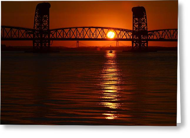 Greeting Card featuring the photograph Sailboat Bridges Sunset by Maureen E Ritter