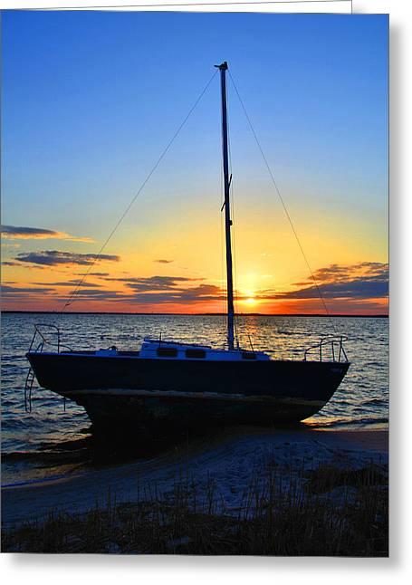 Sailboats And Sunsets Greeting Card