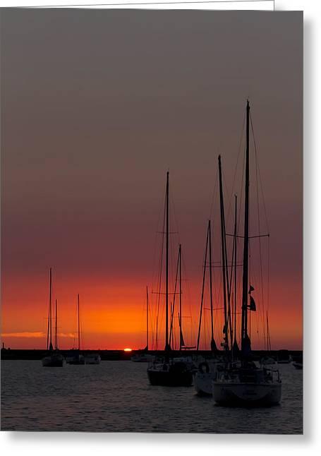 Sailboats At Sunrise Greeting Card
