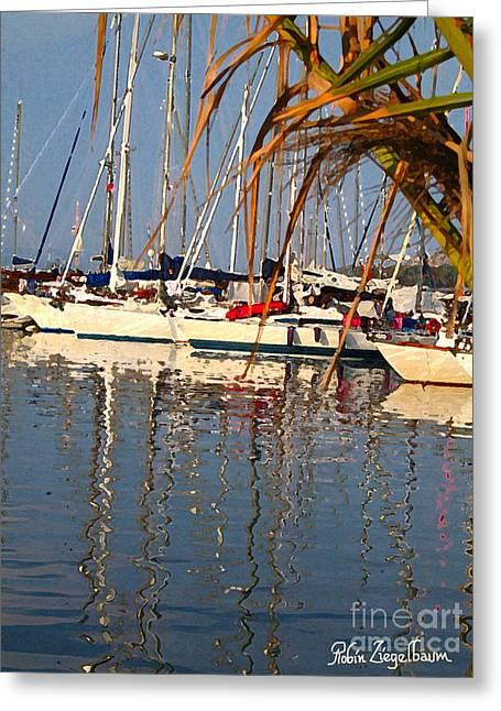 Sailboats In Porquerolles Greeting Card by Robin Ziegelbaum