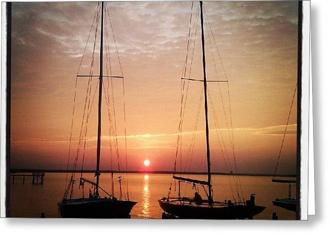 Sailboats In The Sunset Greeting Card by Dustin K Ryan