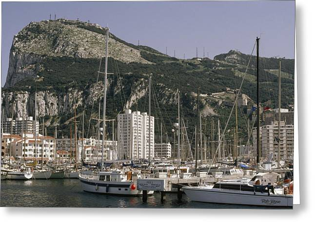 Sailboats Moored In Gibraltar Bay Greeting Card by Lynn Abercrombie