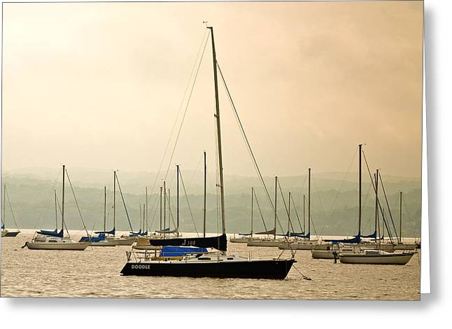 Sailboats Moored In The Harbor Greeting Card by Ann Murphy