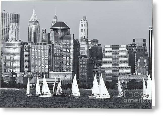 Sailboats On The Hudson V Greeting Card by Clarence Holmes