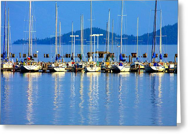 Sailboats Reflections Greeting Card by Karon Melillo DeVega