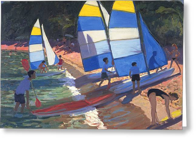 Sailboats South Of France Greeting Card by Andrew Macara