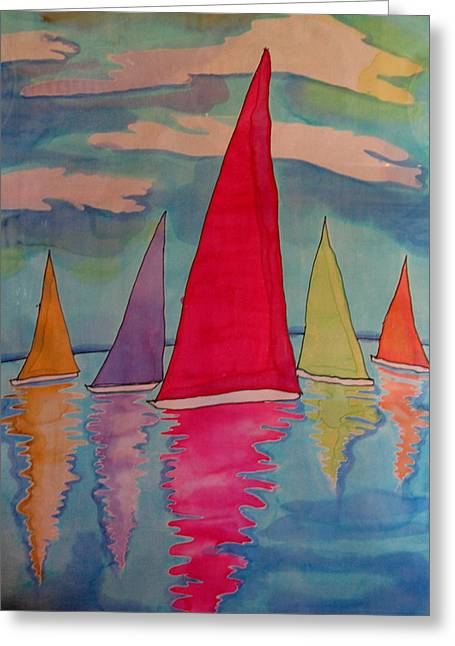 Sailboats Greeting Card by Yvonne Feavearyear