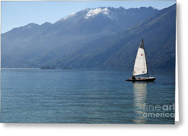 Sailing Boat And Mountain Greeting Card by Mats Silvan