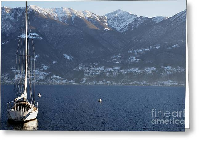 Sailing Boat On A Lake Greeting Card by Mats Silvan