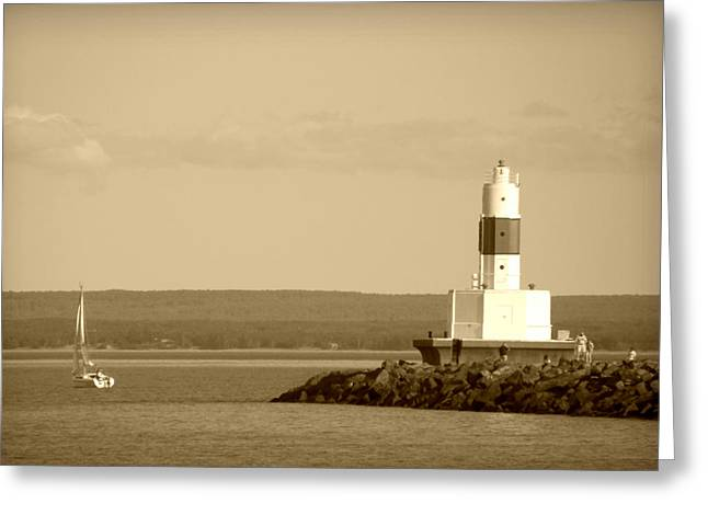 Greeting Card featuring the photograph Sailing By The Marquette Presque Isle Lighthouse by Mark J Seefeldt