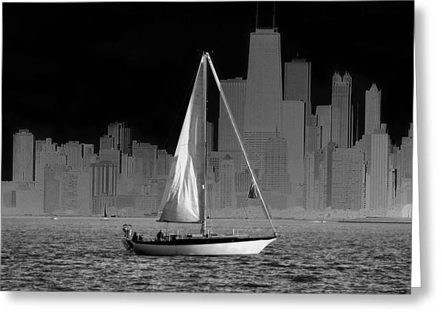 Sailing In Lake Michigan Greeting Card