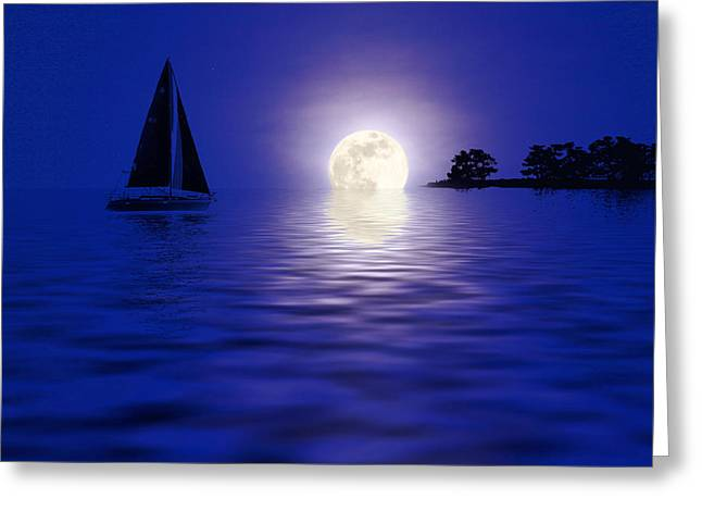 Sailing Into The Moonlight Greeting Card by Cindy Haggerty