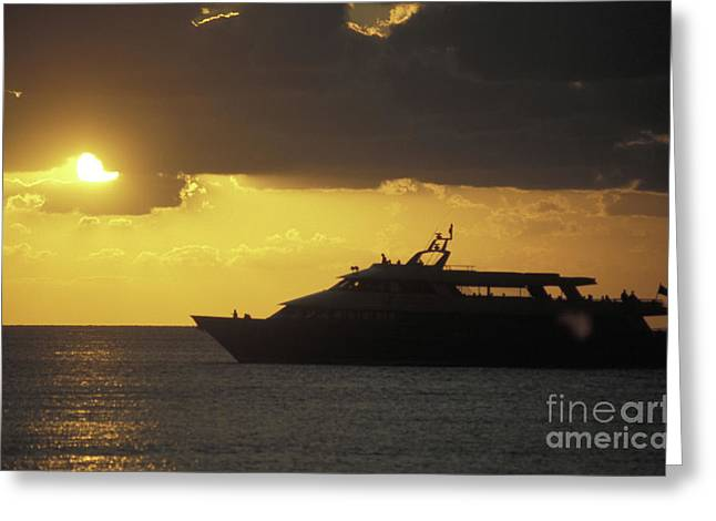 Sailing Into The Sun Cozumel Mexico Greeting Card by John  Mitchell