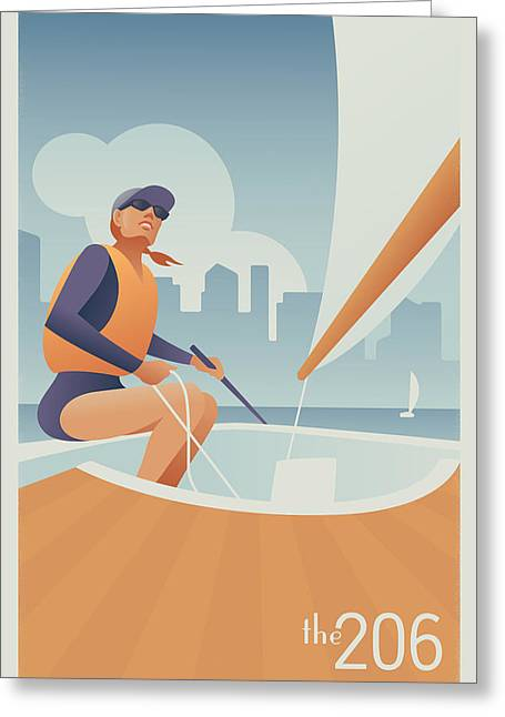 Sailing Lake Union In Seattle Greeting Card by Mitch Frey