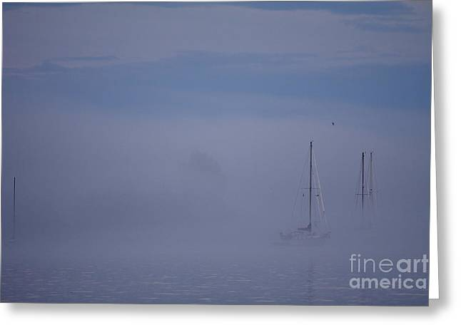 Sailing Mysterious Lake Superior Greeting Card by Kate Purdy