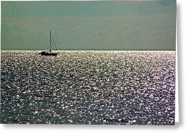 Greeting Card featuring the photograph Sailing On A Sea Of Diamonds by William Fields