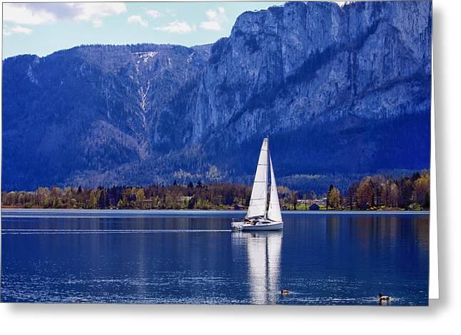 Sailing On Mondsee Lake Greeting Card