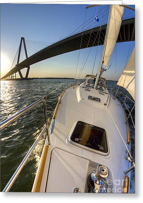 Sailing On The Charleston Harbor Beneteau Sailboat Greeting Card by Dustin K Ryan