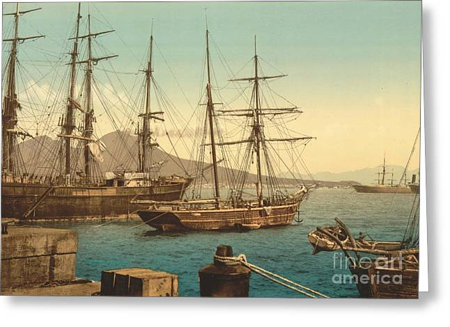 Sailing Ships In Naples Harbor Greeting Card by Padre Art