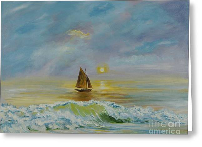 Sailing The Ocean Blue Greeting Card