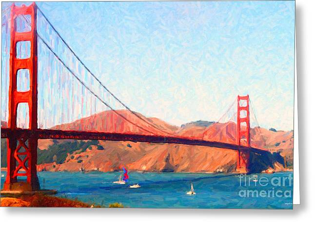 Sailing Under The Golden Gate Bridge Greeting Card by Wingsdomain Art and Photography