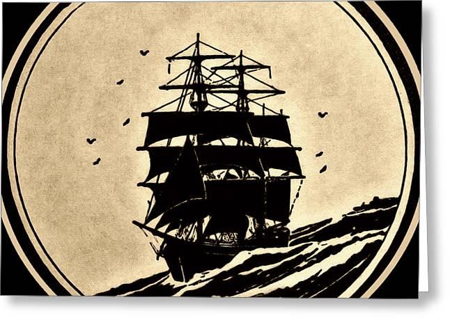 Sailing Vessel Greeting Card by Susan Leggett