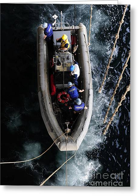 Sailors Conduct A Man Overboard Drill Greeting Card by Stocktrek Images