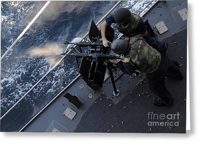 Sailors Fire A Dual-mounted M240 Greeting Card