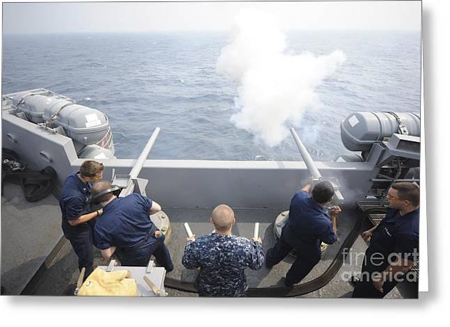 Sailors Perform A 21-gun Salute Aboard Greeting Card by Stocktrek Images