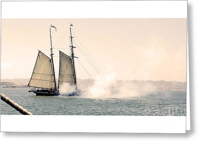 Sails And Cannons Greeting Card by MaryJane Armstrong