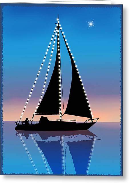 Sails At Sunset Silhouette With Xmas Lights  Greeting Card by Elaine Plesser