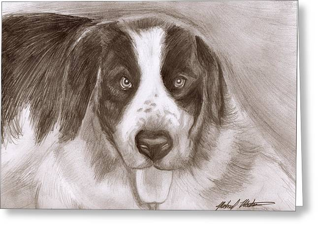 Saint Bernard Greeting Card by Michael Mestas